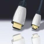 ClickTronic HQ kabel HDMI male mini HDMI male, zlacené, HDMI 1.3b, ferrity 2,5m (4040849523625)