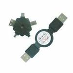 PremiumCord USB navíjecí kabel+universal.redukce 5+1 (8592220000462)