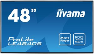 "48""  IIYAMA ProLite LE4840S-B1 / FullHD / SVA / 8ms / 350cd / USB 2.0 media player / RJ45 / RS232C / repro / černá"