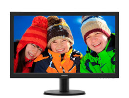 "23.6"" PHILIPS 243V5LHSB / LED / 1920 x 1080 / LCD / 16:9 / 1ms / 1000:1 / 250cd-m2 / VGA+DVI+HDMI / VESA / Černý"