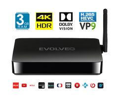 EVOLVEO MULTIMEDIA BOX M8 černá / Octa Core 2 GHz / 3 GB RAM / WiFi / Bluetooth / HDMI / USB / Android 7.1