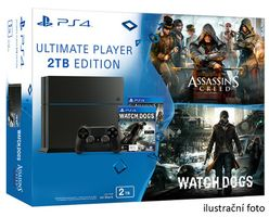 SONY PlayStation 4 - 2TB Black CUH-1216B + Assassins Creed Syndicate + Watchdogs