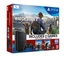 SONY PlayStation 4 - 1TB Slim Black CUH-2016B + Watch Dogs 2, Watch Dogs