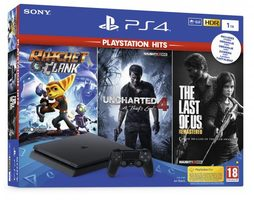 SONY PlayStation 4 - 1TB slim Black CUH-2116B + TLOU + Uncharted 4 + Ratchet&Clank / černý
