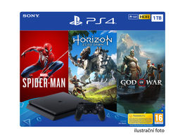 SONY PlayStation 4 - 1TB slim Black CUH-2116B + God of War + SpiderMan + Horizon Zero Dawn / černý