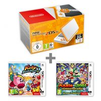 New Nintendo 2DS XL White & Orange + KBR + M&L:Supersaga