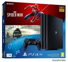 SONY PlayStation 4 Pro Gamma - 1TB  + Spider-Man + Shadow of the Colossus / černý