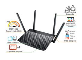 ASUS RT-AC58U / MIMO Router AC1300 / 2.4GHz - 400Mbps / 5GHz - 867Mbps / GWAN + 4x GLAN / USB 3.0