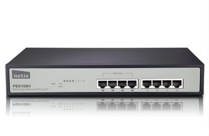 NETIS PE6108H / 8-port Switch Rack / 8x LAN / 4xPOE 10/100Mbps / kovový / 62W
