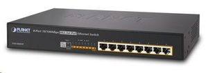 Planet FSD-808HP switch / 8xRJ45 / 8x 802.3at PoE injektor do 140W / interní napájení