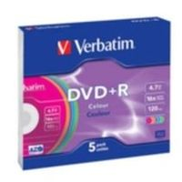 Verbatim 5ks DVD+R 4.7GB 16x / barevné / Slim Case