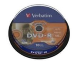 10ks DVD-R 4,7GB Verbatim 16x / LightScribe / Spindl