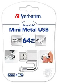 Verbatim Store'n'Go Mini Metal USB Flash / 64 GB / USB 3.0 / kov / stříbrná