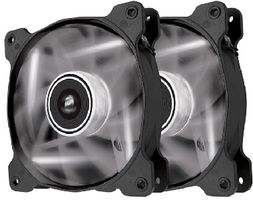 Corsair AF120 LED White Quiet Edition Twin Pack / 2x 120 mm / Hydraulic Bearing / 25.2 dB @ 1500 RPM / 88.7 m3h / 3-pin