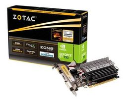 ZOTAC GeForce GT 730 ZONE Edition Low Profile / GT730 902MHz / 2GB DDR3 1600 / 64 Bit / HDMI  / DVI / VGA / 49W