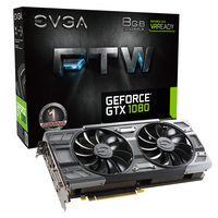 EVGA GeForce GTX 1080 FTW GAMING ACX 3.0 / 1721-1860MHz / 8GB D5X 10GHz / 256-bit / DVI, HDMI, 3x DP / 215W (8+8)