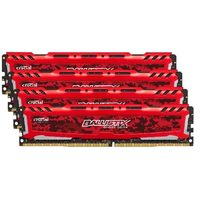 CRUCIAL Ballistix Sport LT Red 64GB(4x16GB) / DDR4 / 2400MHz / PC4-19200 / CL16 / 1.2V / Dual Ranked x8
