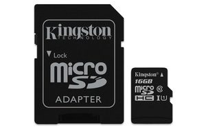 Kingston Canvas Select micro SDHC 16GB + SD adaptér / UHS-I / CL1 (U1) / čtení: 80MBs / zápis: 10MBs