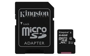 Kingston Canvas Select micro SDXC 64GB + SD adaptér / UHS-I / CL1 (U1) / čtení: 80MBs / zápis: 10MBs
