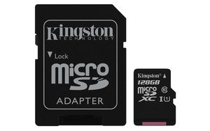 Kingston Canvas Select micro SDXC 128GB + SD adaptér / UHS-I / CL1 (U1) / čtení: 80MBs / zápis: 10MBs