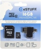 eSTUFF 4in1 MicroSD 16GB / Class 10 / SD adapter + USB - MicroUSB OTG adapter