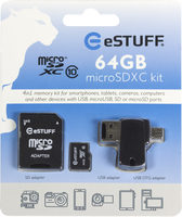 eSTUFF 4in1 MicroSD 64GB / Class 10 / SD adapter + USB - MicroUSB OTG adapter