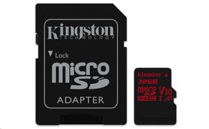 Kingston Canvas React microSDHC 32GB + SD adaptér / UHS-I V30 / čtení: 100MBs / zápis: 70MBs