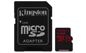 Kingston Canvas React microSDXC 64GB + SD adaptér / UHS-I V30 / čtení: 100MBs / zápis: 80MBs