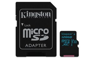 Kingston Canvas Go! microSDXC 128GB + SD Adapter / U3 / UHS-I / V30 / čtení: 90MBs / zápis: 45MBs
