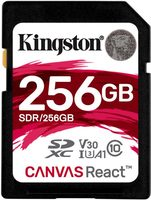 Kingston Canvas React SDXC 256GB / CL10 / UHS-I / U3 / V30 / A1 / čtení: 100MBs / zápis: 70MBs
