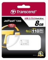 Transcend JetFlash 720S 8GB stříbrná / Flash Disk / USB 3.1 / R: 110 MNs / W: 25 MBs / MLC solution