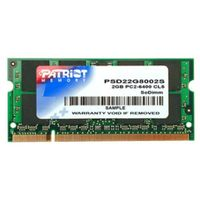 Rozbaleno - Patriot 2GB SO-DIMM DDR2 800MHz / CL6 / 1.8V / rozbaleno