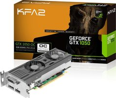 KFA2 GeForce GTX 1050 OC LP / 1366-1468MHz / 2GB D5 7GHz / 128-bit / DVI + HDMI + DP / 75W / Low profile