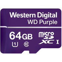 WD Micro SDHC Purple 64GB / MicroSDHC / R: 80MBps / W: 50 MBps / Class 10 UHS-I