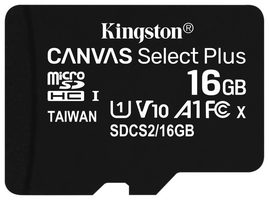 Kingston Canvas Plus microSDHC 16GB bez adaptéru / UHS-I / Class 10 / čtení: až 100 MBs