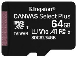 Kingston Canvas Plus microSDXC 64GB bez adaptéru / UHS-I / Class 10 / čtení: až 100 MBs