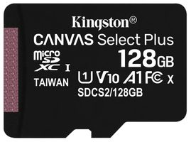Kingston Canvas Plus microSDXC 128GB bez adaptéru / UHS-I / Class 10 / čtení: až 100 MBs