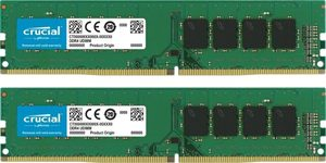 Crucial 64GB (2x32GB) 3200 MHz / DDR4 / DIMM / PC4-25600 / CL22 / Non-ECC / Un-buffered / DR x8 / 1.2V