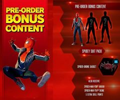PS4 Spider-man - preorder bonus (Spidey suit pack, spider drone, PSN Avatar, PS4 theme, 5 extra skill point)
