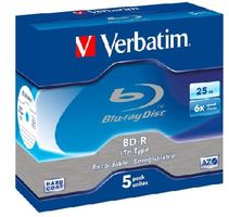 Verbatim Blu-Ray BD-R / 25GB / 6x / LTH-AZO / 5ks jewel box