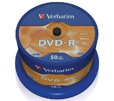 Verbatim DVD-R / 4.7 GB / 16x / Printable / 50ks cake