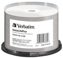 Verbatim DVD-R THERMAL Silver / 4,7 GB / 16x / Printable / 50ks cake