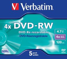 Verbatim DVD-RW / 4,7 GB / 4x / 5ks jewel box