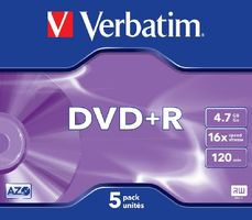Verbatim DVD+R / 4,7 GB / 16x / 5ks jewel case