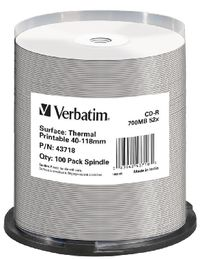 Verbatim CD-R D/ 700MB / 52x / Thermal Printable / no-ID / 100ks cake