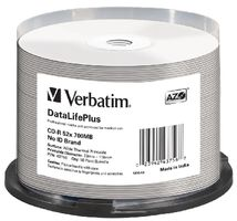 Verbatim CD-R DataLifePlus / 700MB / 52x / Wide Thermal Printable / no-ID / 50ks cake