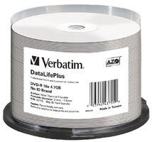 Verbatim DVD-R DataLifePlus / 4.7GB / 16x / Wide Thermal Printable / no-ID / 50 pack Spindle