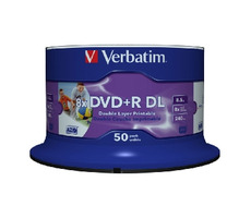 Verbatim DVD+R DL / 8.5 GB / 8x / Wide Inkjet Printable / 50ks spindle