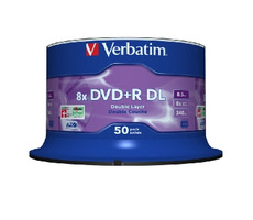 Verbatim DVD+R DL / 8.5 GB / 8x / Matt Silver / 50ks spindle
