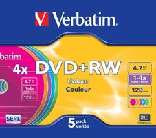 Verbatim DVD+RW Colour / 4.7GB / 4x / 5ks slim case